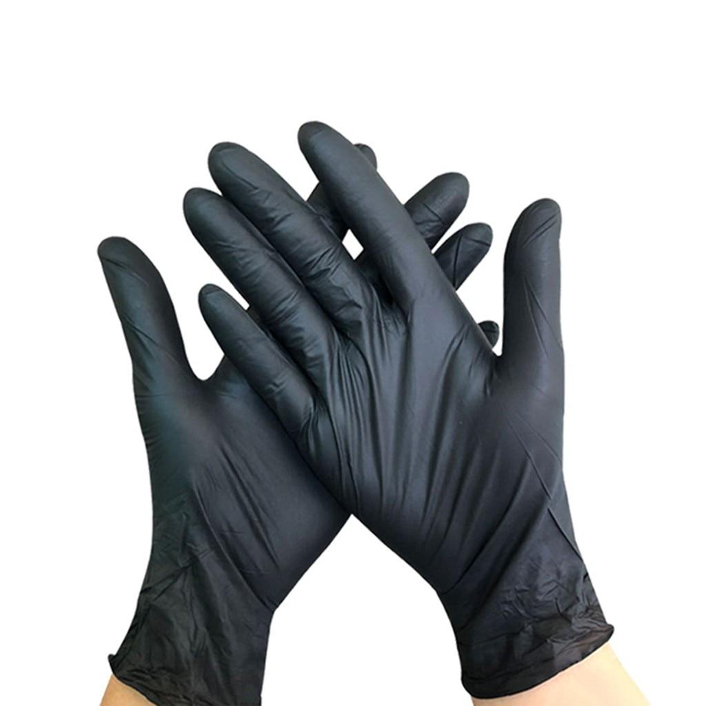 50pc Nitrile Disposable Gloves Powder-free 3.5 Mil Black Gloves Home Vegetable Garden Kitchen Glove