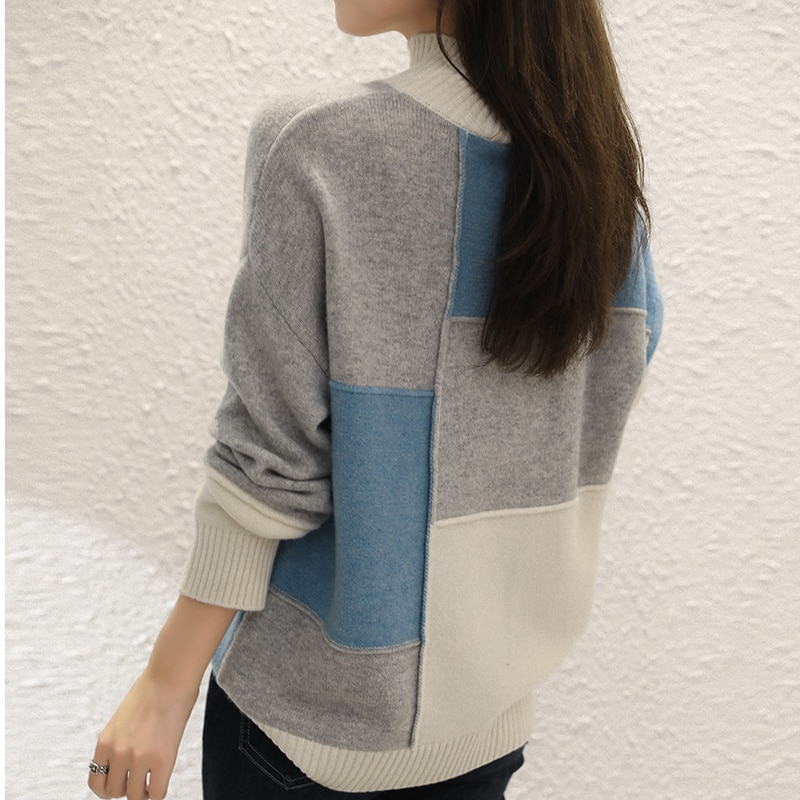 adohon 2021 woman winter 100% Cashmere sweater autumn knitted Pullovers High Quality Warm Female thickening Turtleneck Patchwork enlarge