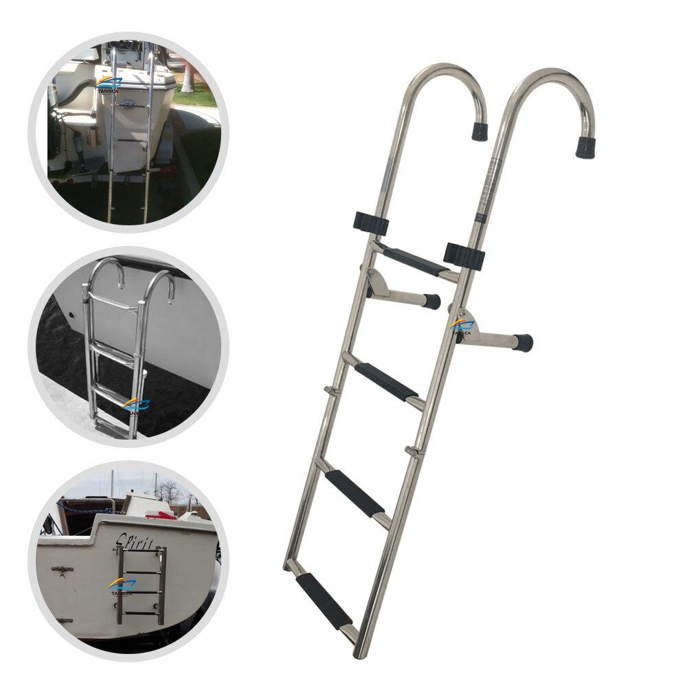 1.14m boat accessories marine 4 Step Under Platform Boat Ladder Stainless Steel Boarding Telescoping Ladder