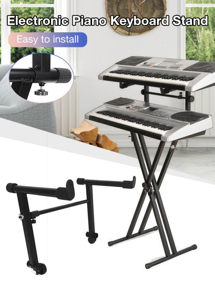XR-34 Adjustable Electronic Piano Keyboard Stand Piano Heightened Support Music Holder Instrument Bl