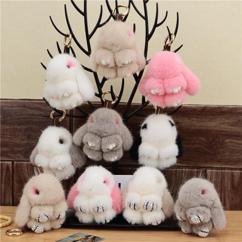 Mink Fur Bunny Fur Pendant Bag Jewelry Key Chain Plush Pendant Trumpet Cute Cute Rabbit Children Animal Cartoon Doll недорого