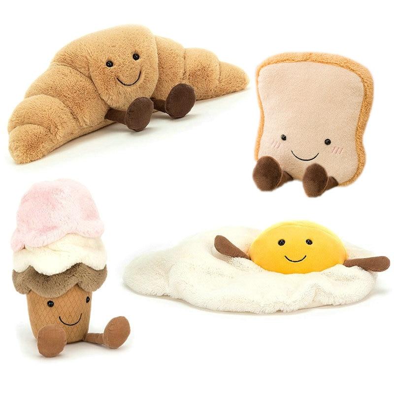 Милая кросс-тостов хлеб еда плюшевая игрушка набивное мультяшное мороженое багет паха яйцо Декор кукла для девочки дети день рождения
