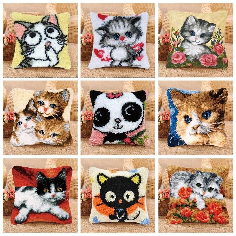 Pualqi Carpet Embroidery Pillow Animal Series Latch Hook Rug Kits 3D Smyrna Cartoon Wool Carpet Embroidery DIY Latch Hook Pillow