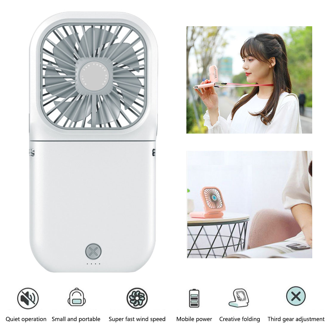 Mini ventilador USB de bolsillo plegable, ventilador de refrigeración portátil recargable de aire pequeño, ventilador de aire Personal, ventilador de aire para el hogar o al aire libre