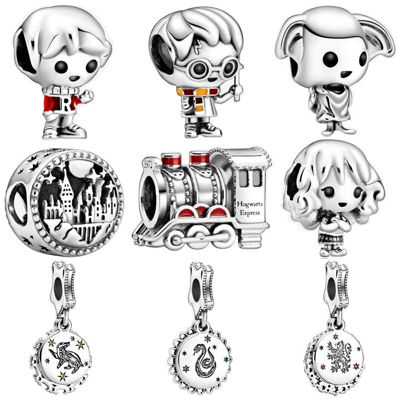 Nuevo colgante de cuentas de Color plateado con diseño Original de dibujos animados para niño dijes para niña compatible con pulseras y collar Pandora para mujeres DIY Lovers Jeweley