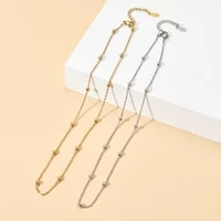 zmzy beads stainless steel chains necklace fashion minimalist goldsilver color choker necklace for women girl colar collares