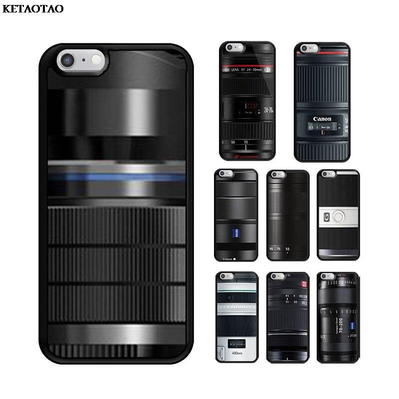 Ketotao Canon 24 70 mm F2.8 lente Cámara TPU suave silicona teléfono funda para iPhone 5S 6S 7 8 Plus XR XS 11 ProMax para Samsung