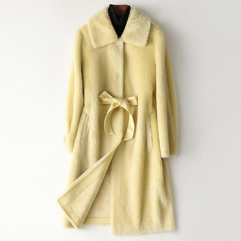 2021 شتاء جديد جودة عالية صوف ناعم معطف الفرو المرأة الأغنام القص الوردي سترة طويلة الأزرق سميكة الدافئة معطف فضفاض