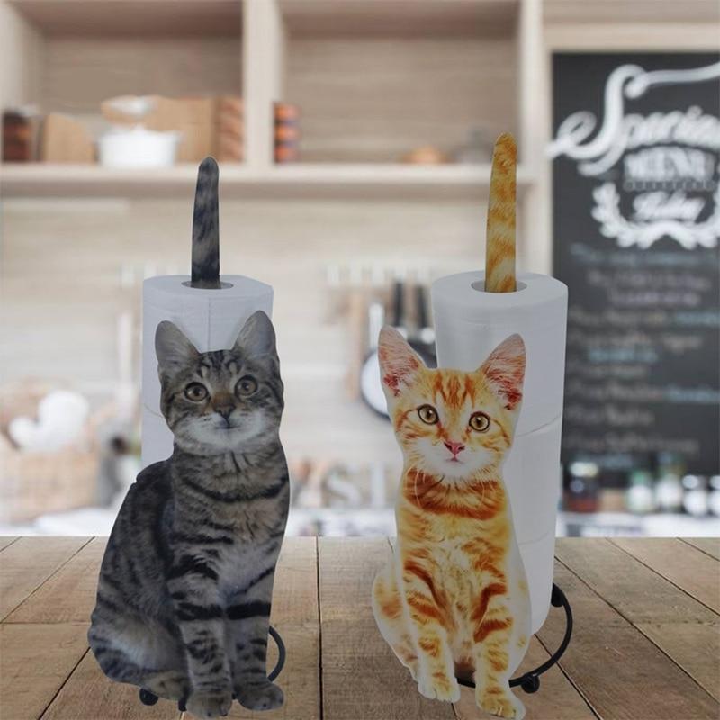 K1KA الحيوان تحت عنوان مناديل حمام الزخرفية أصحاب المعادن القط الحرة الدائمة ملحقات الحمام منشفة ورقية ورقة موزع