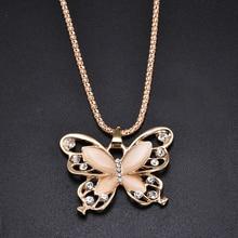 Or Rose acrylique cristal 4CM grand papillon pendentif collier 70CM longue chaîne pull bijoux pour les femmes