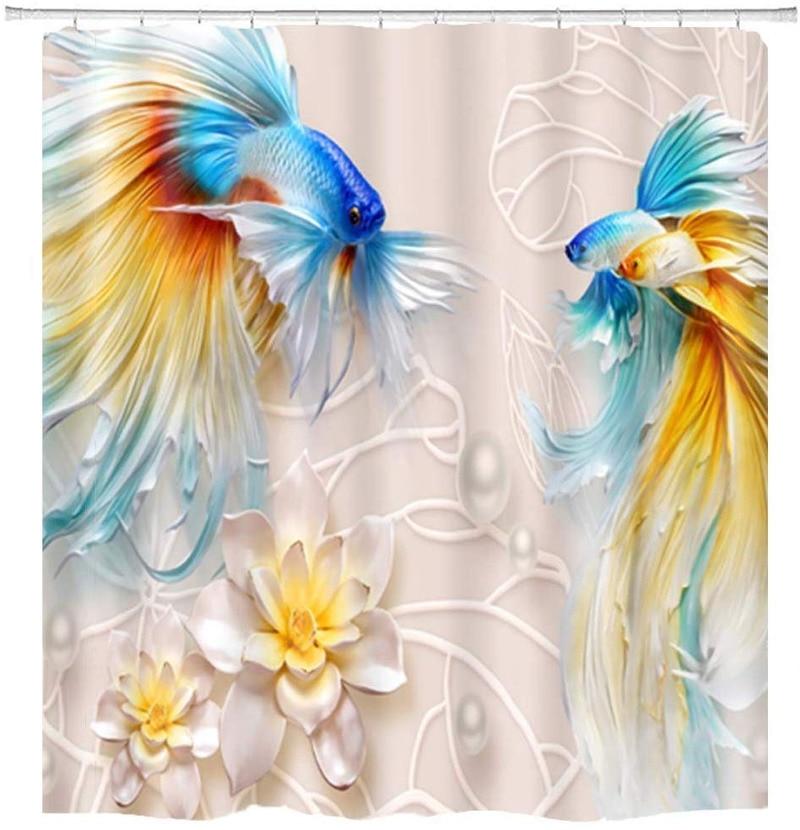 BBSET, cortina de ducha con flores de loto de pez dorado, cortina de ducha con estampado 3D de hojas de pez Koi, juegos de cortinas de ducha, decoración impermeable para el baño