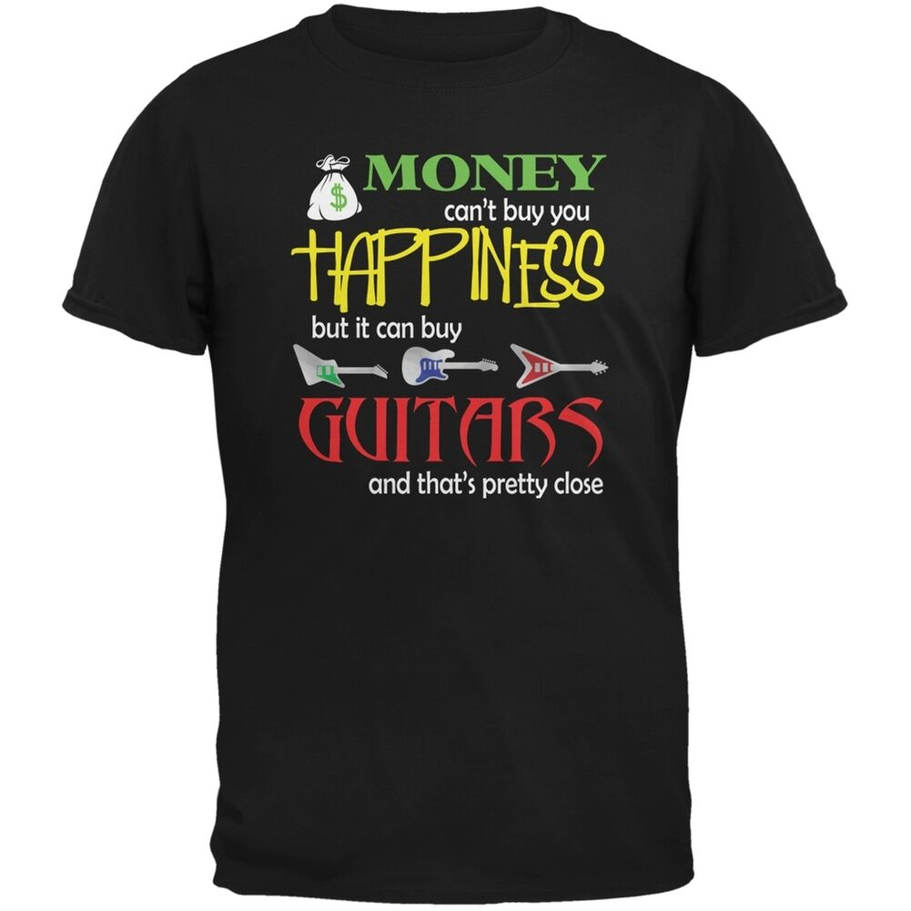 Money Happiness Guitars Funny Black Adult Men Funny T-Shirt Short  Casual  customized products