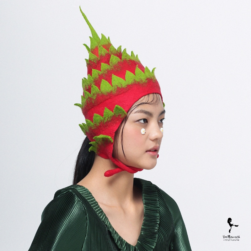 Original Design Handmade Wool Felt Hat Fruit Cap Creative Pitaya Cap women winter hat fur hat womens fluffy hat baby winter hat