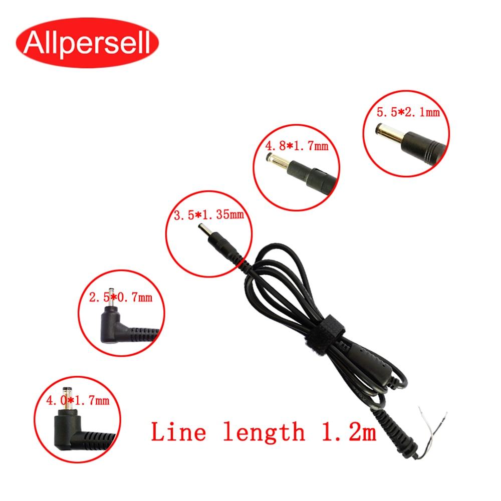 Cable de alimentación para ordenador portátil con anillo magnético 2,5*0,7/4,0*1,7/3,5*1,35/4,8 * 1,7/5,5*2,1mm adaptador de corriente CC longitud de línea de enchufe de 1,2 m