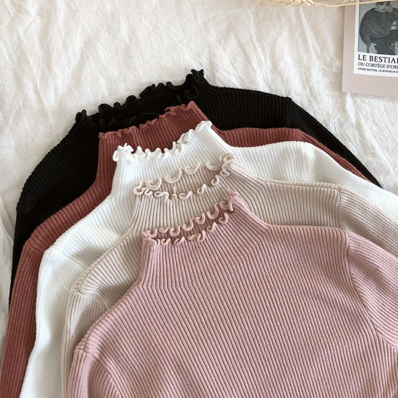 2021 Fall Winter Fashion Ruffles Sweater Turtleneck Ruched Women Sweaters High Elastic Solid Female Slim Sexy Knitted Pullovers
