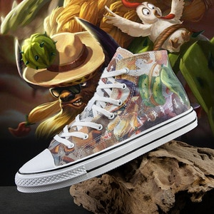 High Top Hand Painted Street Sneaker Shoe Fashion Cartoon Men Skateboard Shoes Unisex  Breathable Canvas Sports Shoes Size 35-44