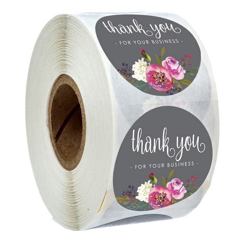 grazie-adesivo-fiori-grigi-rotondi-1-pollice-25mm-adesivi-etichetta-fiori-modello-adesivi-di-cancelleria-500-pezzi-rotolo