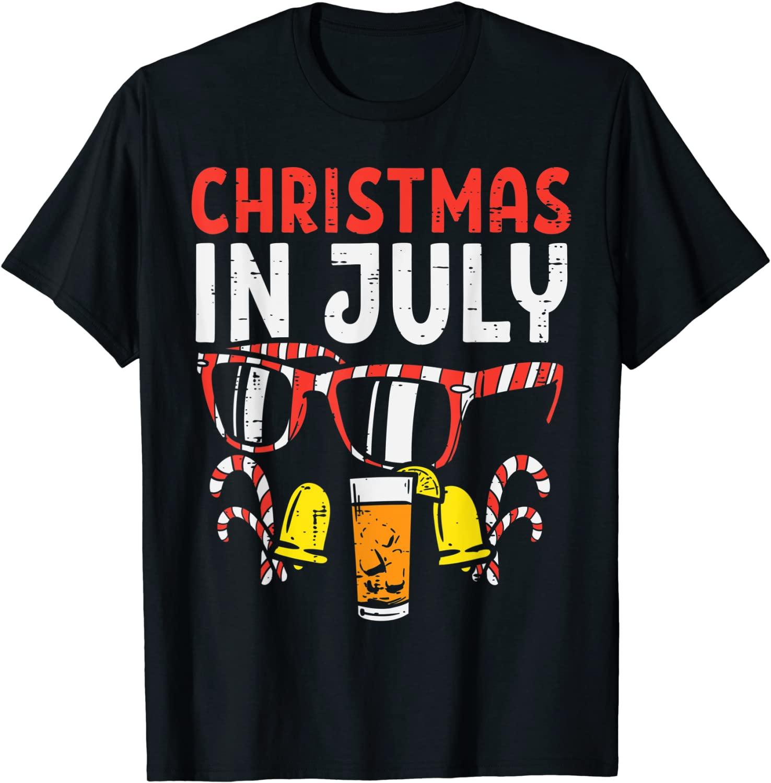 Christmas In July Sunglasses Drink Summer Xmas Men Women T Shirt
