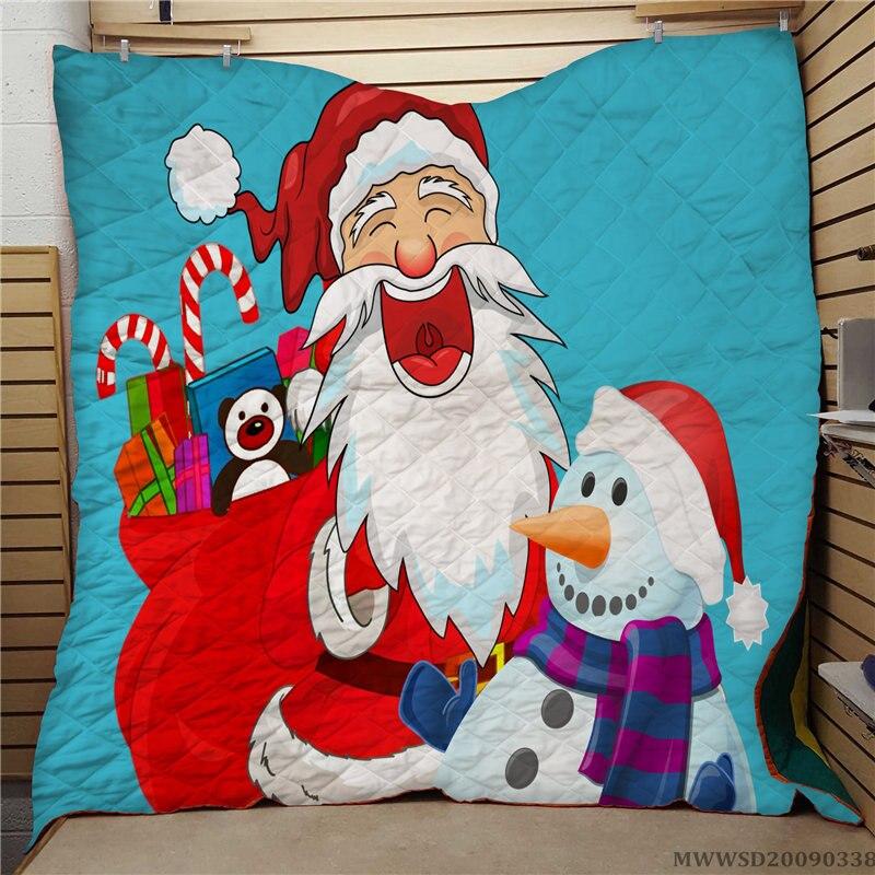 عيد ميلاد سعيد فريد نمط طباعة لحاف لينة مريحة المألوف نوم الديكور السرير هدية للأطفال