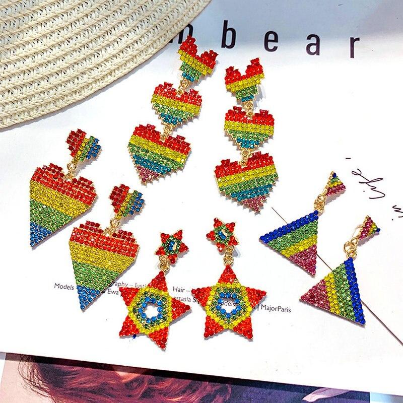 Pendientes de moda exagerados Arco Iris Cactus loro Stud multicolores cristal estrella corazón borla pendiente mujeres asimétrica pendiente