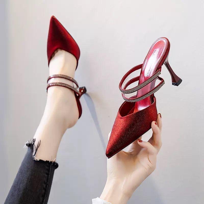 Женские атласные туфли на шпильке, туфли Muller на весну/лето, новинка 2021, красные офисные туфли на шпильке Baotou