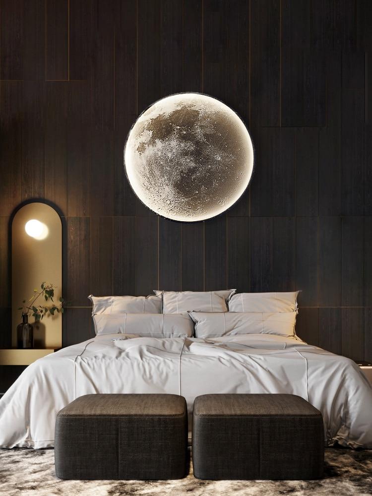 القمر الجدار مصباح أضواء led الحديثة جدار ديكور جدارية الإضاءة غرفة المعيشة حائط الخلفية ضوء الفاخرة الفن نوم أباجورة