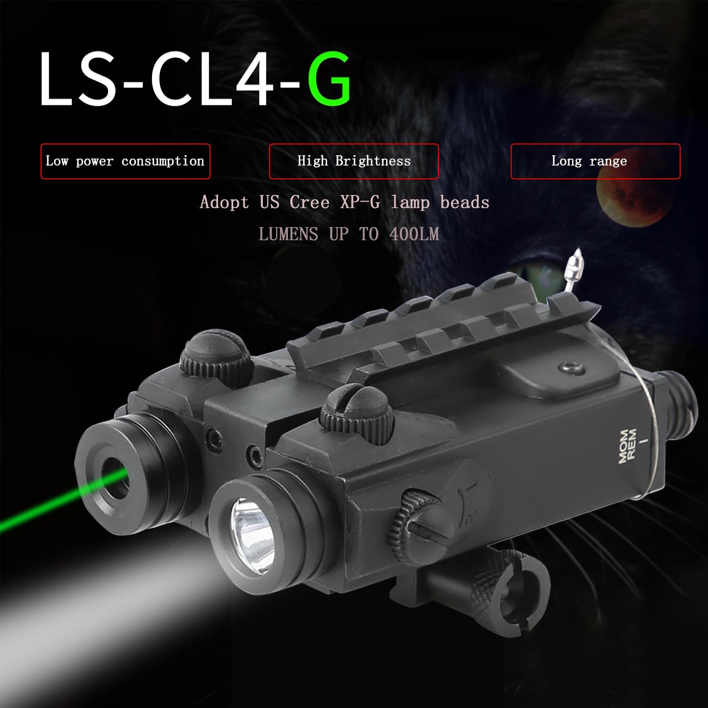 Tactical LED Flashlight  Green Laser Sight For 20mm Rail Mini Glock Pistol Gun Rifle Light lanterna Airsoft Light laser pointer