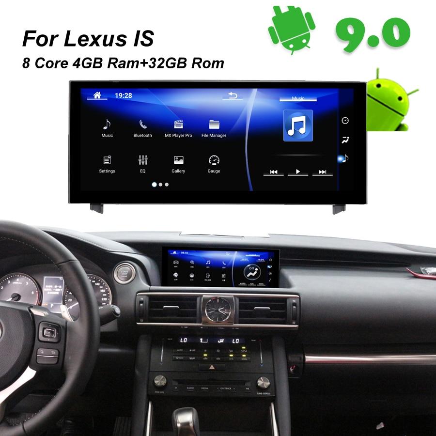 4GB RAM+32GB ROM Android 9.0 Car Radio GPS Navigation BT Head Unit for Lexus IS 200 250 300 350 200t 300h lexus IS300h 2014 2015
