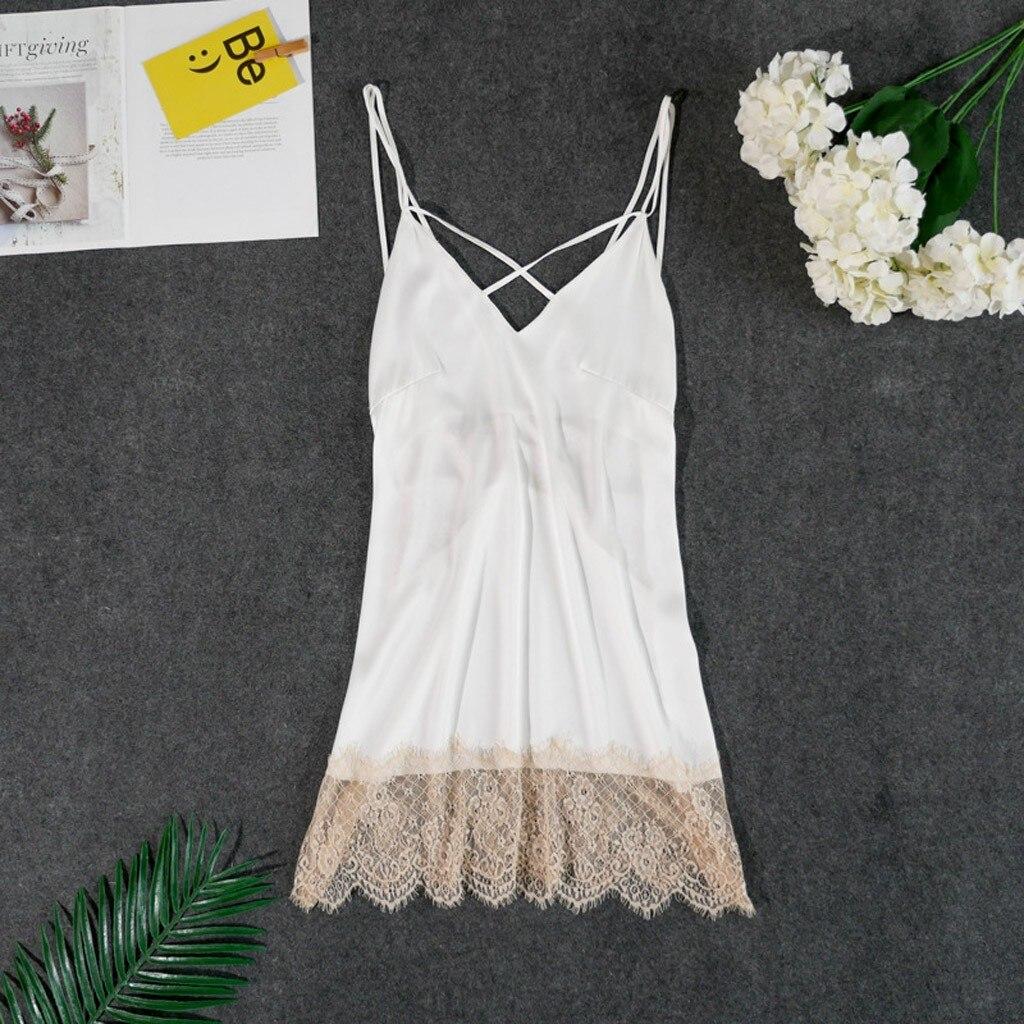 New Slips V-neck Sexy Night Dress Women Satin Lace Splice Sexy Lingerie Sleepwear Summer Lady's Back