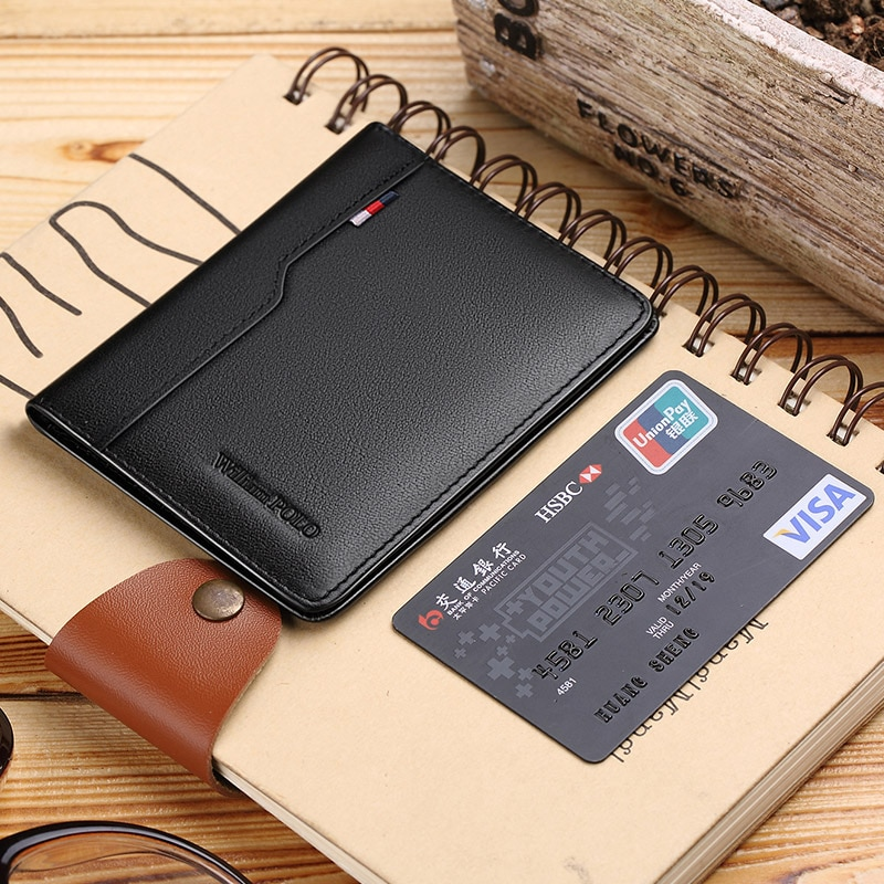 Маленький держатель для карт WilliamPOLO из натуральной кожи, мужской короткий ультратонкий мини-кошелек из воловьей кожи для кредитных карт и м...