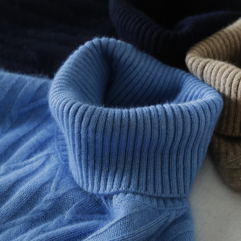 Фото - Cashmere sweater men winter sweater men's sweater high neck thickened Pullover knitwear jacquard mesh bottomed sweater Polo Top fall winter sweater men thickened korean fashion personality sweater lazy pullover sweater coat