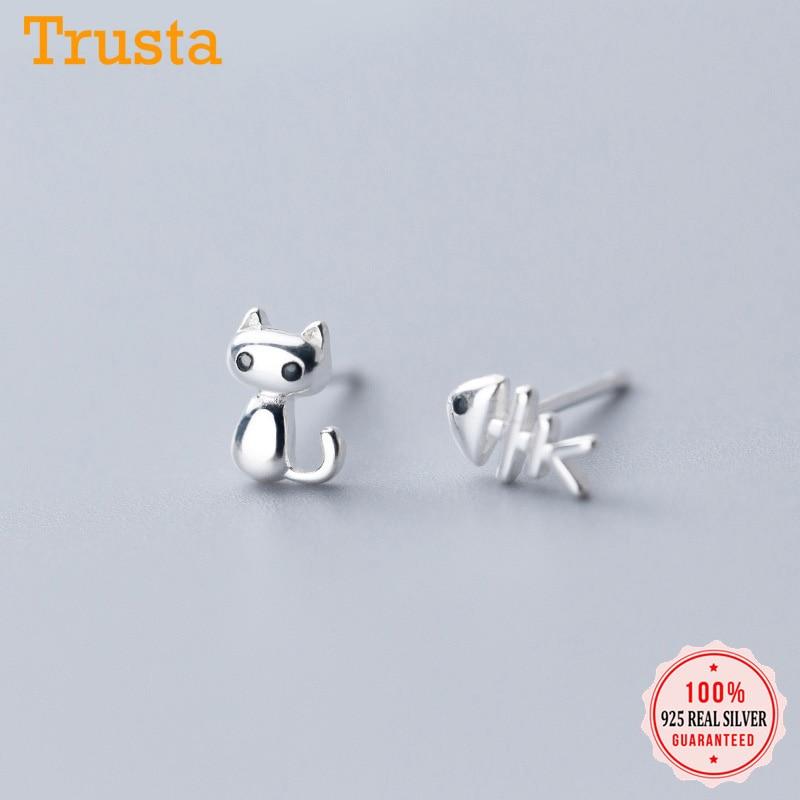 Pendientes Trustdavis de Plata de Ley 925 auténtica y asimétricos con diseño de gato y hueso de pez CZ para mujer, joyería de boda, regalo DS2174