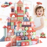 high quality 94 pcs childrens puzzle color large wooden blocks solid wood fight toys baby gifts
