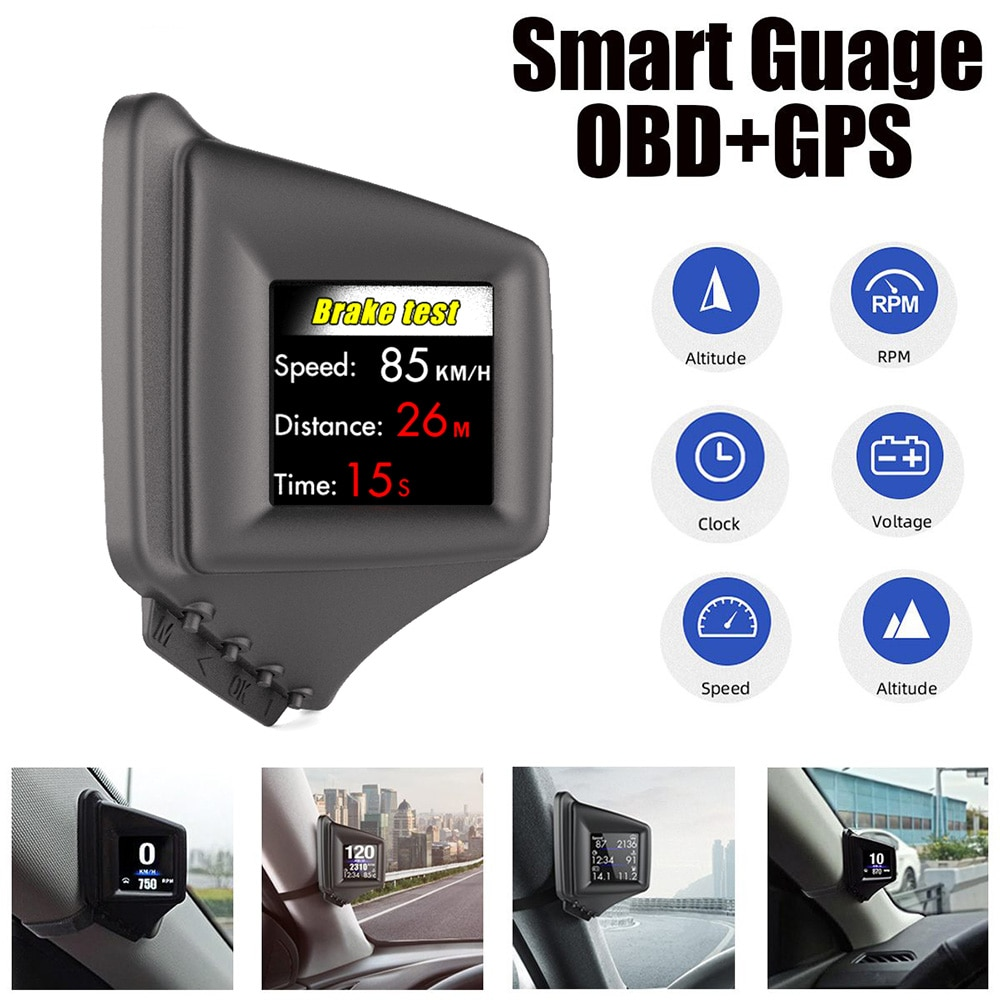 AP-1 Hud Head Up Display HUD Gadget M43 OBD2+GPS Dual Mode 100% for All Cars Security Alarm RPM MPH