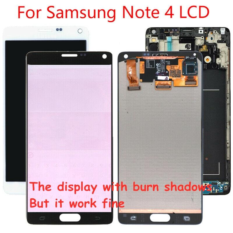 الأصلي 5.7 ''حرق الظل LCD استبدال لسامسونج غالاكسي نوت 4 نوت 4 N910 N910A N910F LCD عرض تعمل باللمس محول الأرقام