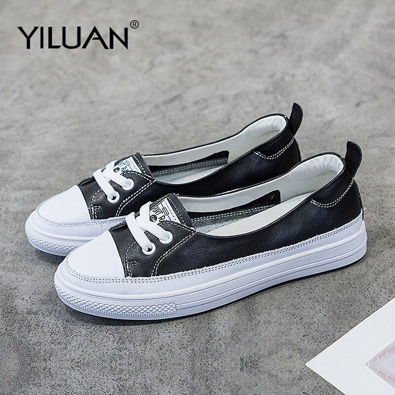 ¡Novedad de otoño 2020! Zapatillas de deporte de cuero Yiluan, zapatos blancos pequeños para mujer, zapatos casuales de marea salvaje, zapatos de tabla transpirables para verano