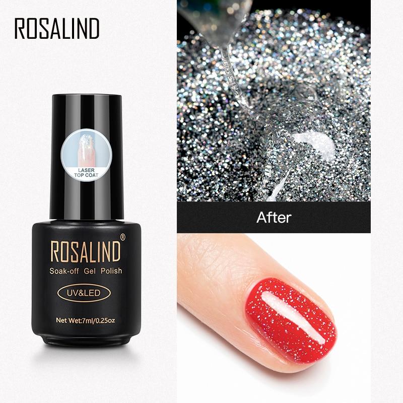 ROSALIND Gel Nail Polish Laser Top Semi Permanent UV Varnishes Matt Top Coat All For Manicure Primer Base Lacquer Soak Off