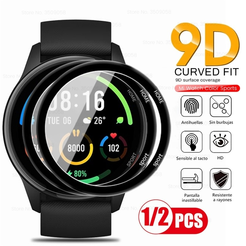 1-2Pcs 9d curved protective glas for xiaomi mi watch color sports edition soft fiberglass screenprot