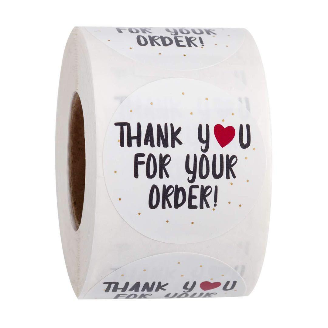 Наклейка ручной работы, круглая Канцелярия, спасибо за ваш заказ