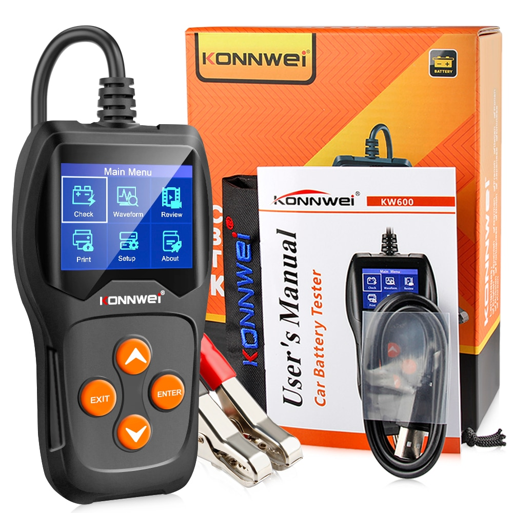 KW600 Car Battery Tester 12V 100 to 2000CCA 12 Volts Battery Tools for the Car Quick Cranking Charging Diagnostic
