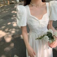2021 Summer Beauty Woman Commuter Fashion Cute Style Korean Bow Fairy Long Skirt Puff  Short Sleeve