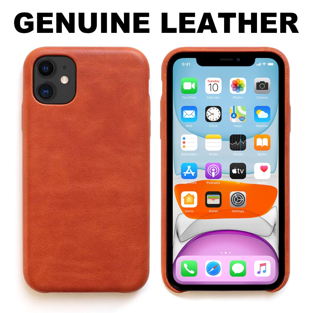 100% Genuine Leather for iPhone 11 Case Xr 7 8 Plus Handmade Luxury Business Cowhide Phone Cases for Xs Max X SE 2020 Back Cover