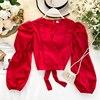 Jesienna koszula damska długie bufiaste rękawy Sexy dekolt Hollow krótki Ins topy Lady modne koreańskie ubrania bluzka harajuku K050
