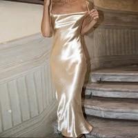 sling satin mermaid dress long dress backless nightdress party club dress halter nightdress clothing women