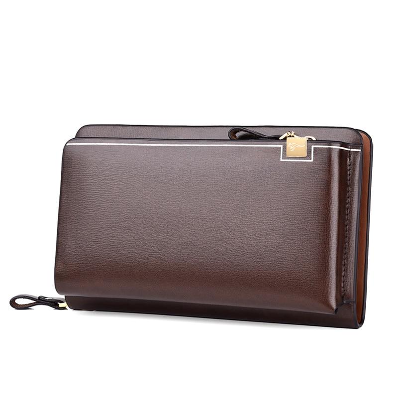 محفظة جلدية للرجال ، فاخرة ، عالية الجودة ، بطاقات متعددة ، جيب هاتف بسحاب ، مجموعة جديدة