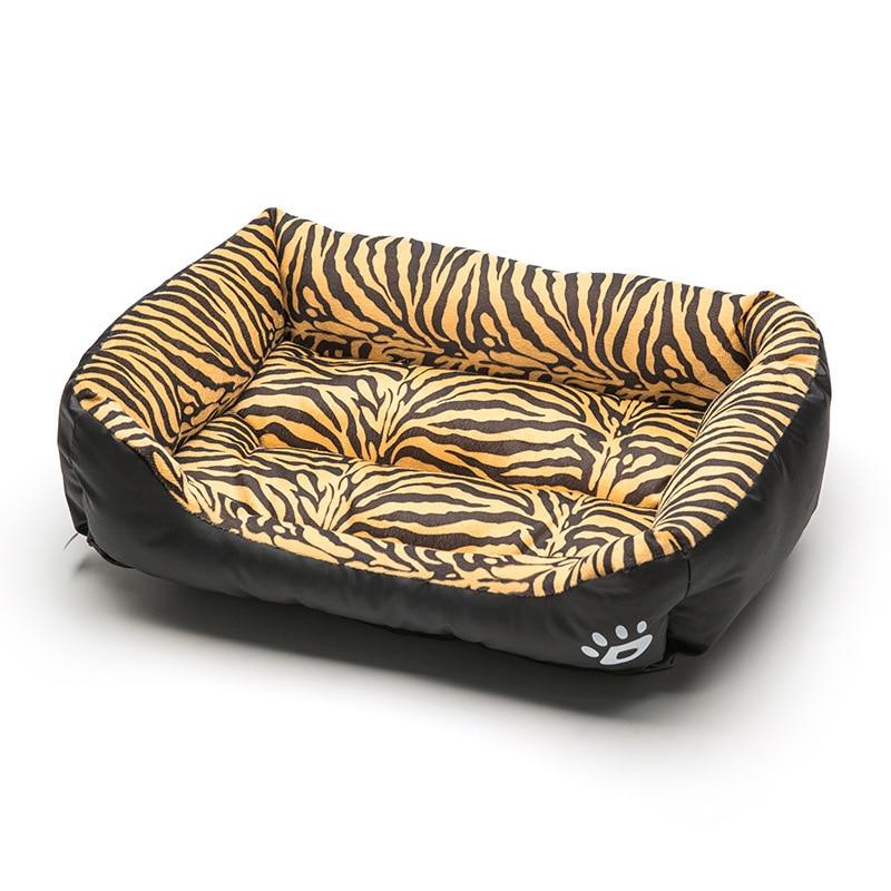 Cama cuadrada para mascotas Tigre leopardo estampado 3 tamaños suave cama para perro cama para cachorro cama suave Material nido cestas para perros invierno cálido perrera