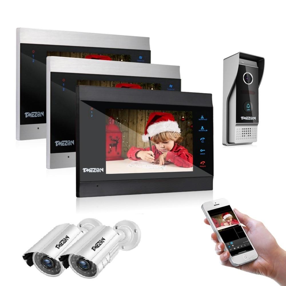 Tmeزون 7 بوصة الذكية IP فيديو باب الهاتف نظام اتصال داخلي مع 3 مراقبة للرؤية الليلية 1 كاميرا الجرس 2 1200tvl