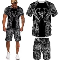 2021 summer mens 3d printed suit o neck short sleeved top shorts 2 piece suit mens sports 3d suit animal print 3d t shirt