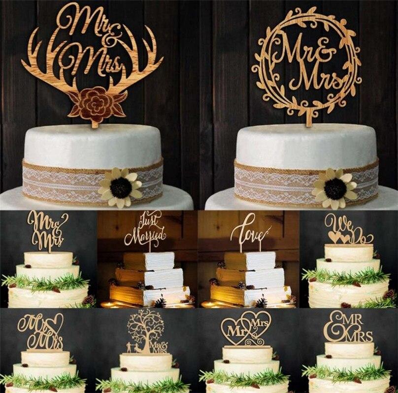 Decoración de pastel de boda con temática de viaje de boda rústica, Decoración de Pastel de fiesta, decoración Vintage de madera para bodas