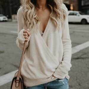 New 2020 Autumn Sexy Deep V-Neck Cross Knit Sweater Women Jumper Pullovers Fashion Long Sleeve Loose Basis  Tops Female Sweater